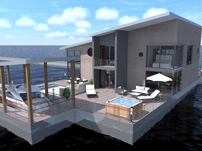 maisons bois flottantes azille une r alisation de architecture espace. Black Bedroom Furniture Sets. Home Design Ideas