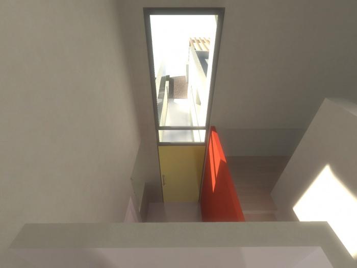 Maison contemporaine : vide sur entrée.