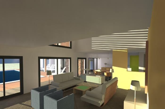 Maison contemporaine assas - Maison avec vide sur salon ...