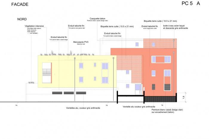 Projet de 4 logements à Noisy le sec : FACADE SUR RUE 4 LOGEMENTS