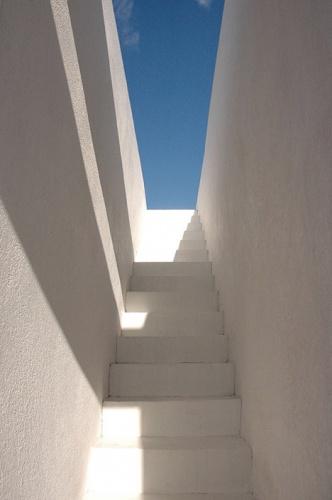 Maison de ville en béton : Accès au toit terrasse