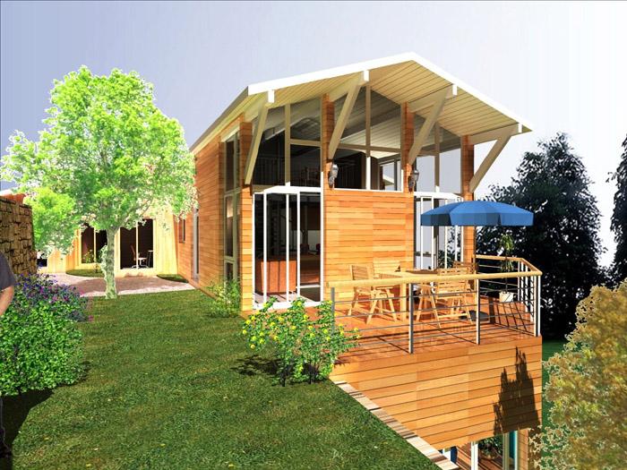 façade maison bois, terrasse
